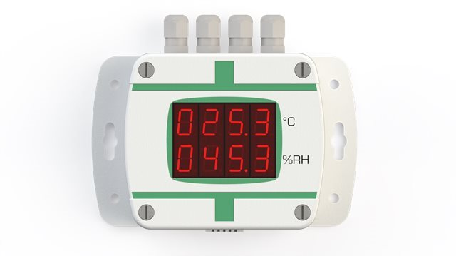 TX-E-T-M-D - Temperature transmitter with digital display, external sensor, RS-485 connector and analogic output